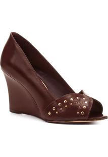 Peep Toe Shoestock Anabela Tachas - Feminino-Café