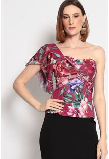 Blusa Ombro ÚNico Com Tule- Pink & Verde- Charrycharry