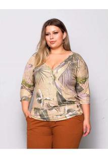 Blusa Plus Size Palank Sevilha Feminina - Feminino-Bege