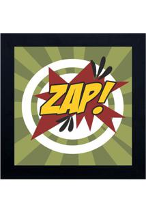 Quadro Decorativo Cartoon Zap - Verde & Preto - 29X2Kapos