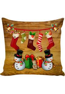 Capa Para Almofada Merry Christmas- Marrom Claro & Vermestm Home