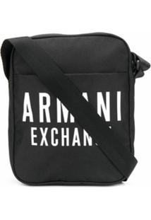 Armani Exchange Bolsa Carteiro Com Estampa De Logo - Preto