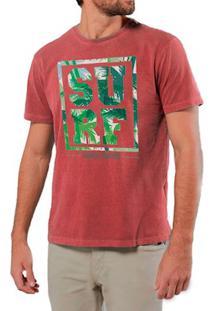 Camiseta Masculina Sandro Clothing Surf Tropical Vermelha Estonada