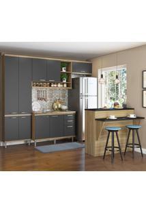 Cozinha Compacta 11 Portas 3 Gavetas Sicilia 5845 Premium Argila/Grafite - Multimóveis