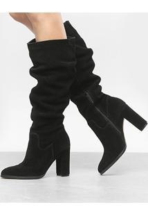 Bota Couro Slouch Shoestock Salto Grosso Feminina - Feminino-Preto