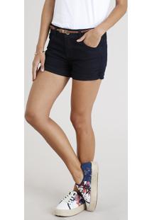 Short Jeans Feminino Reto Com Cinto Azul Escuro