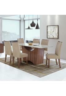 Conjunto Mesa Tampo De Vidro 6 Cadeiras Apogeu Móveis Lopas Imbuia Naturale/Veludo Naturale Creme