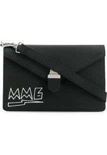 Mm6 Maison Margiela Bolsa Tiracolo Com Estampa De Logo - Preto