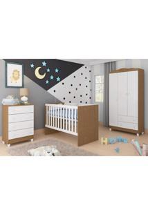 Quarto De Bebê Completo Guarda Roupa 3 Portas, Cômoda E Berço Núbia Siena Móveis Branco/Amadeirado