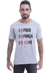 Camiseta Blast Fit Cinza Foco, Força, Café