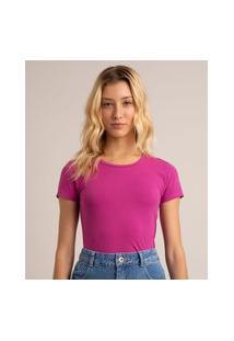 Camiseta Feminina Básica Manga Curta Decote Redondo Roxa