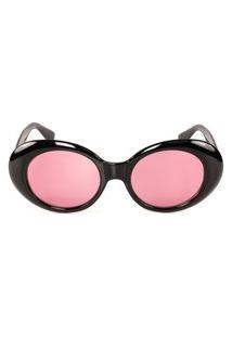 Óculos Solar Titânia Preto Redondo Com Lente Rosa