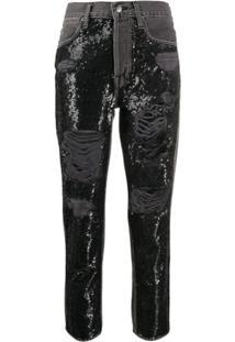 Frame Calça Jeans Com Paetês - Preto