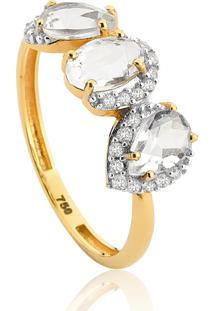 Anel De Ouro 18K Com 3 Pedras De Cristal E Diamantes-Coleção Luxis
