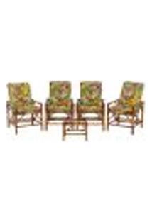 Conjunto Mesa E 4 Cadeiras De Bambu Cancun Para Área Edicula Jardim G38