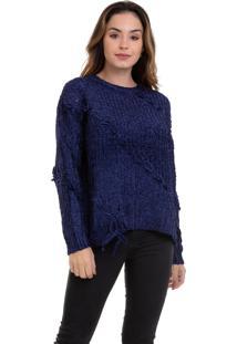 Suéter Kinara Tricot Com Trançado Azul - Kanui