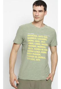 Camiseta Slim Fit Rough Origins Of Samba - Verde Militarosklen