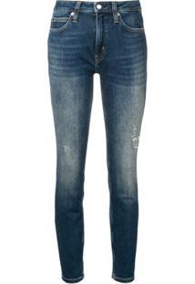 ... Calvin Klein Jeans Calça Jeans Skinny Desgastada - Azul 1a77d93aa19