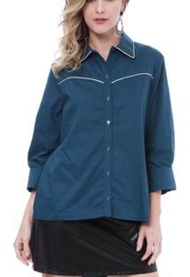 Camisa Moché C/Frizzo 3/4 - Feminino-Azul Petróleo