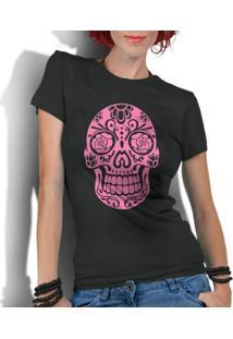Camiseta Criativa Urbana Caveira Mexicana Rosa - Feminino-Preto