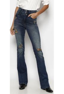 Jeans Flare Estonado Com PuãDos & Bigode - Azul- Tuatuareg