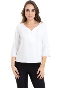 Blusa Kinara Manga ¾ Lacinhos Branco