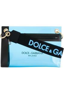 Dolce & Gabbana Clutch Transparente Com Logo - Azul