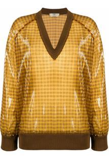 Fendi Suéter Decote Em V Com Paetês - Amarelo