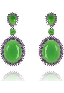 Brinco Levitha Semijoias Verde Esmeralda E Zircônias Roxas - Banho Negro