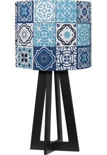 Abajur Carambola Azulejos Bragança Azul