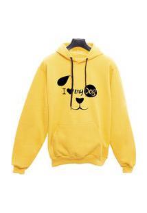 Blusa Moletom Canguru Unissex Eu Amo Meu Dog - Amarelo