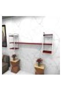 Estante Estilo Industrial Sala Aço Cor Branco 180X30X68Cm Cxlxa Cor Mdf Vermelho Modelo Ind26Vrsl