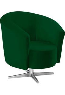 Poltrona Decorativa Angel Suede Verde Com Base Estrela Giratória Em Aço Cromado - D'Rossi