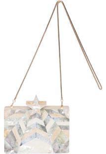 Bolsa Clutch Madrepérola Estrela - Dourado