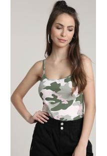 Regata Feminina Básica Estampada Camuflada Com Alça Fina Verde Militar 1