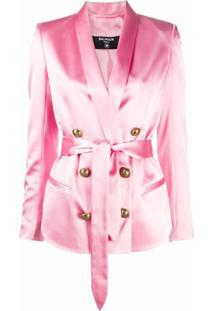 Balmain Blazer De Seda Com Cinto - Rosa