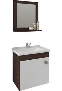 Conjunto Para Banheiro Com 1 Porta E Cuba Iris-Mgm - Café / Branco
