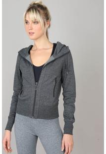 452ae58c4 ... Blusão Feminino Esportivo Ace Com Capuz Em Moletom Cinza Mescla Escuro