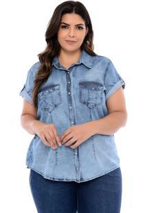 Camisa Jeans Plus Size Azul