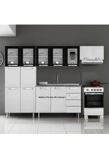 Cozinha De Aço Compacta Em L 11 Portas 5 De Vidro Itanew Branco/Preto - Itatiaia