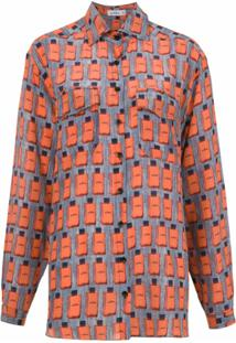 Amir Slama Camisa De Seda Estampada - Azul