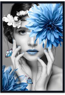 Quadro 60X90Cm Judith Mulher Com Flor Azul Nórdico Moldura Preta Sem Vidro