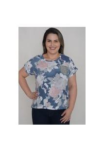 T-Shirt Estampada Plus Size Com Bolso Paetê
