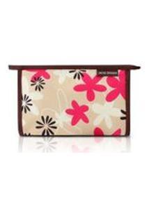 Necessaire Jacki Design Envelope Estamp Tam.G Abc17198-Mr-F Marrom/Floral
