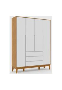Roupeiro 4 Portas Nature Clean Freijó / Branco Soft / Eco Wood Matic Móveis