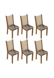 Kit 6 Cadeiras 4291 Madesa Rustic/Crema/Hibiscos Cor:Rustic/Crema/Hibiscos