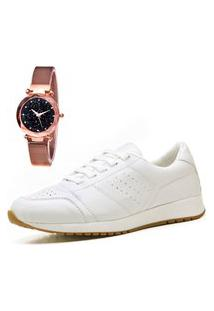 Tênis Sapatênis Casual City Com Relógio Gold Feminino Juilli 1102Li Branco