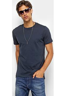 Camiseta Básica Diesel Com Fenda Masculina - Masculino-Marinho