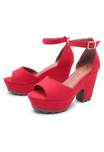 Sandália Tratorada Salto Alto Grosso Confortável 7003 Vermelha