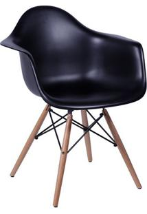 Poltrona Eames Dkr Com Braã§Os- Preta & Bege- 82X62X4Or Design